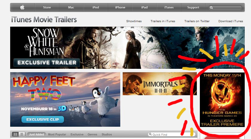 Spotted: The Hunger Games Movie Trailer's announcement on ...